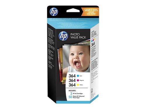 HP 364 Series Photo Value Pack - 3-pack - yellow, cyan, magenta - blister - print cartridge / paper kit - for Deskjet 3520, Photosmart 5520, 55XX B111, 6520, 7510 C311, 7520, Wireless B110