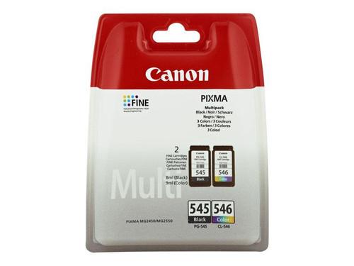 Canon PG-545 CL546 - 8287B005 - 1 x Black,1 x Cyan,1 x Magenta,1 x Yellow - Multipack - Ink Cartridge - For PIXMA iP2850,MG2450,MG2550,MG2555,MG2950,MG2950S,MX495