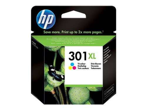 HP 301XL - High Yield - colour (cyan, magenta, yellow) - original - ink cartridge - for Deskjet 1050A J410, 1051A J410, 10XX, 10XX J410, 15XX, 2000, 2050 J510, 2050A J510, 2054A J510, 25XX, 3000, 3050 J610, 3050A J611