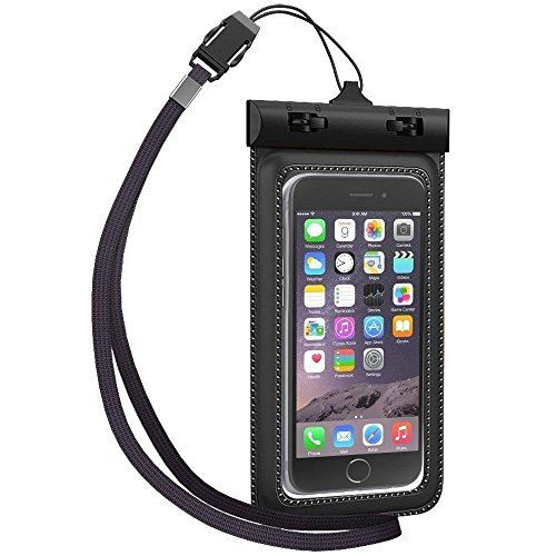White Universal waterproof sports protective dry armband Pouch Case for all smartphones 5 inches and below including iPhone 6 & 6 Plus, Samsung Galaxy Note 3 & Note 4 and more