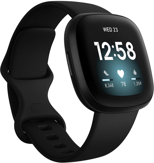 Fitbit Versa 3 - Black aluminium - smart watch with band - silicone - black - band size: S/L - Wi-Fi, NFC, Bluetooth