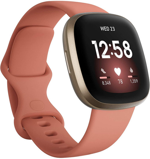 Fitbit Versa 3 - Soft gold aluminium - smart watch with band - silicone - pink clay - band size: S/L - Wi-Fi, NFC, Bluetooth