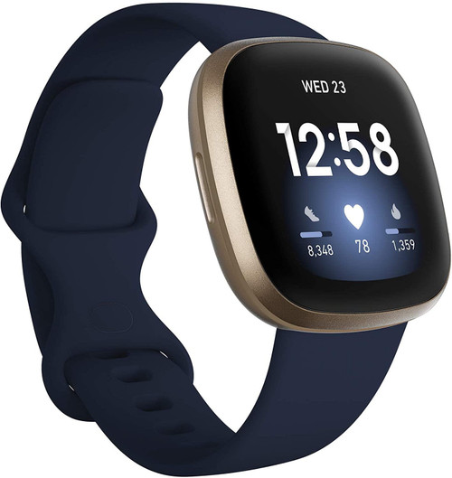 Fitbit Versa 3 - Soft gold aluminium - smart watch with band - silicone - midnight - band size: S/L - Wi-Fi, NFC, Bluetooth