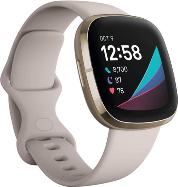 Smartwatch Fitbit Sense Lunar White/Soft Gold Stainless Steel