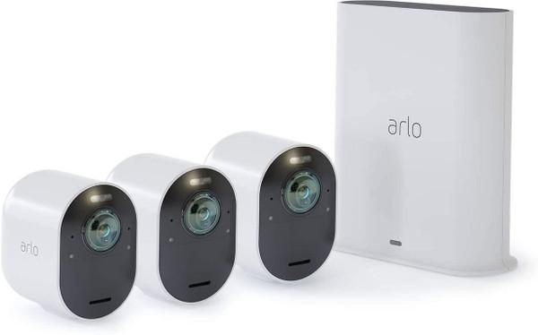 Arlo Ultra 2 Security System - Gateway + camera(s) - wireless - 802.11b, 802.11g, 802.11n, 802.11ac, Bluetooth 4.2 LE - 3 camera(s) - white