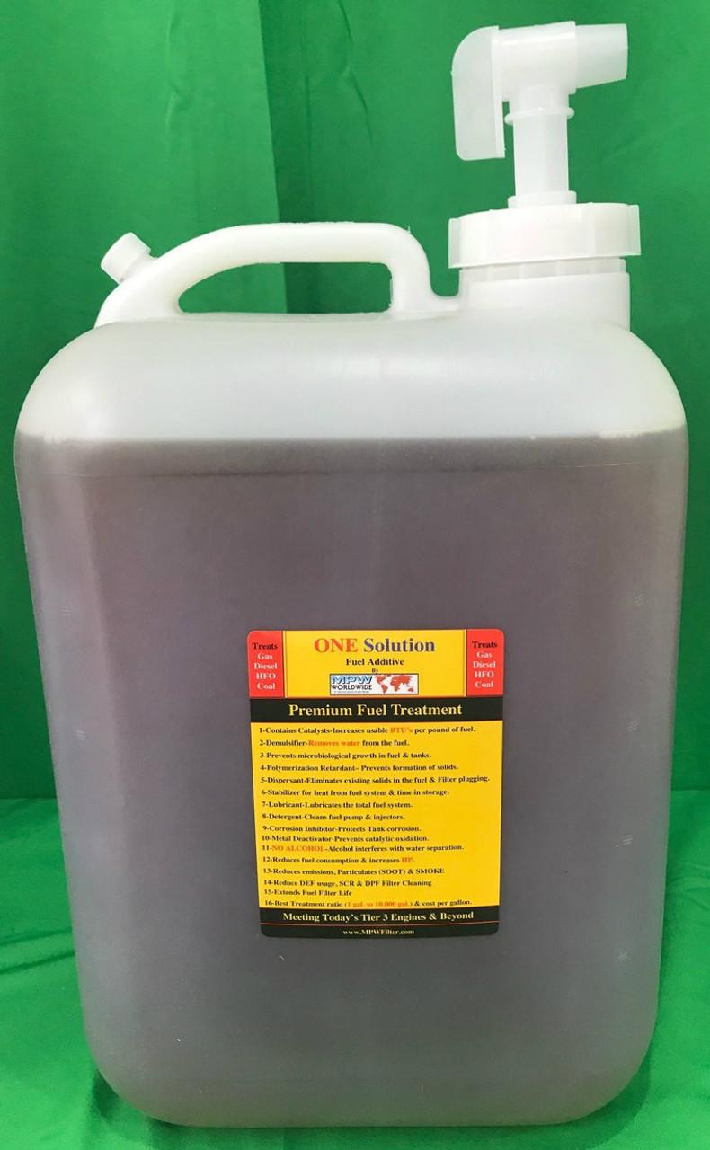 One Solution 5 Gallon jug treats 50,000 gallons of fuel
