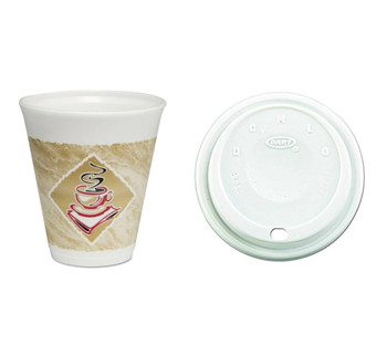 Dart Thermoglaze Cafe G Hot/Cold 12 oz Foam Cups/Lids 100 C/T