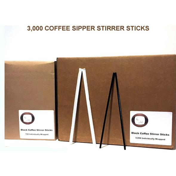 """Coffee Sipper Stirrer Sticks 8"""" Individually Wrapped 3,000 C/T"""