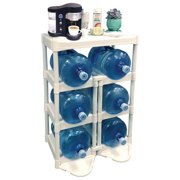 Bottle Buddy 6 Water Bottle Rack With Shelf + Floor Protection Kit