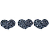 Triple Blue Beaded Hearts