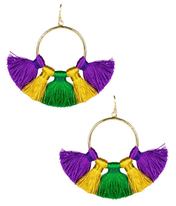 Izzy Gameday Earrings - Mardi Gras