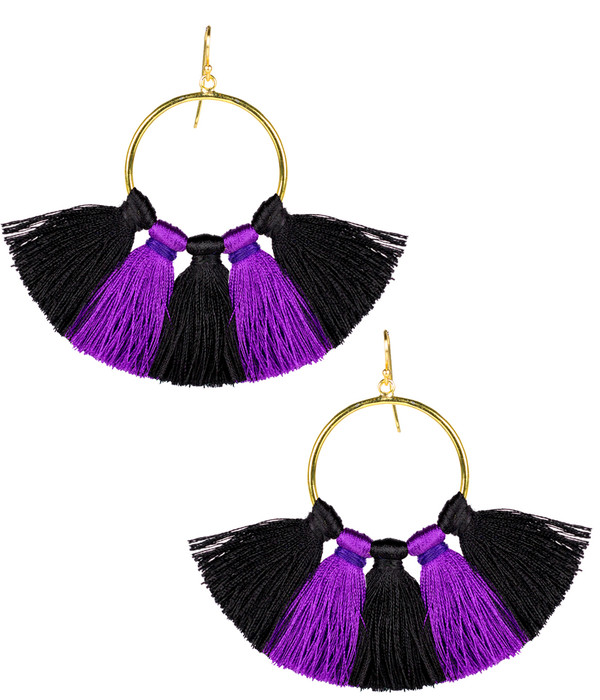 Izzy Gameday Earrings - Black & Purple