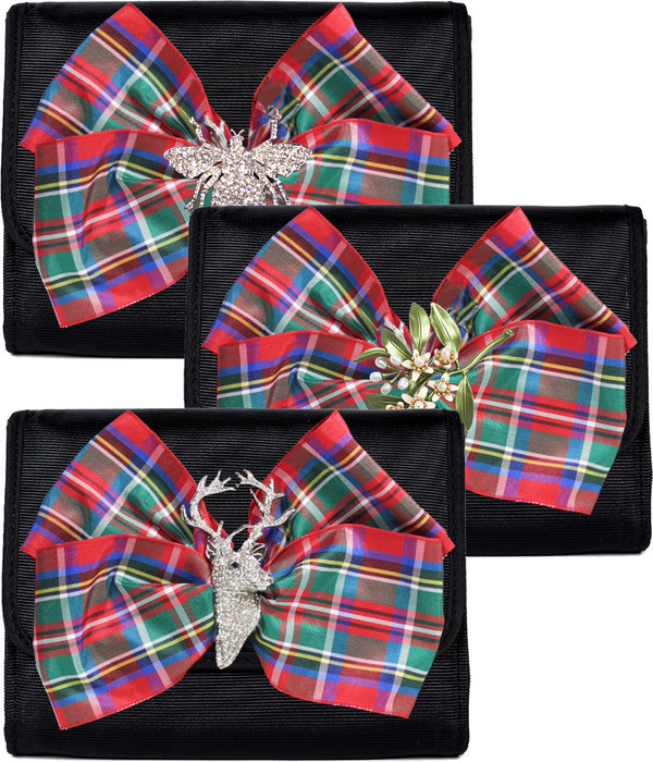Eleanor - Plaid Bow &  Rhinestones