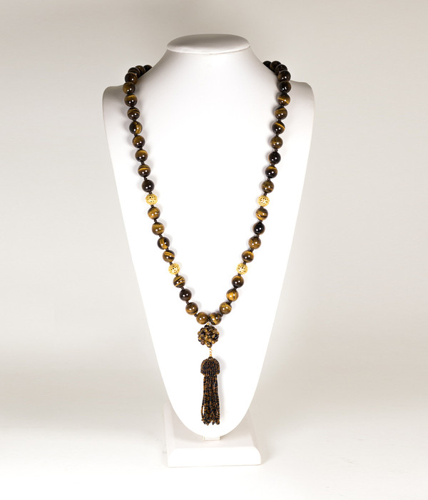 Beaded Tassel Necklace - Tiger's Eye