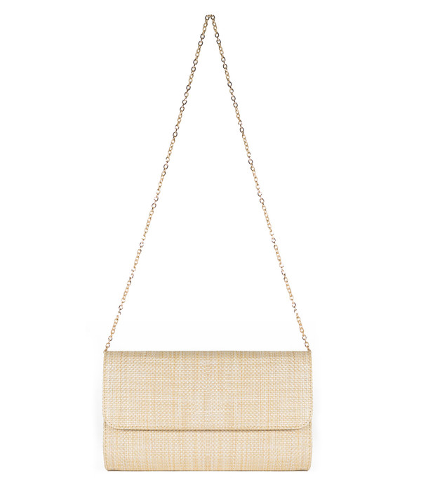 Avery Clutch - Straw -  Raffia Round