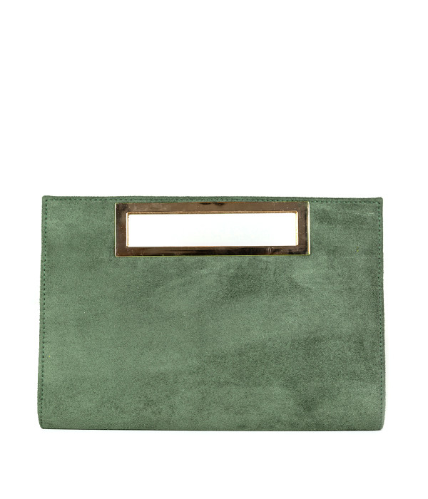 Chloe Suede Clutch - Olive