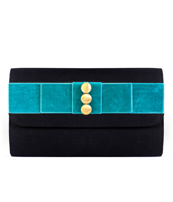 Avery Clutch Black - Velvet Flat Bow