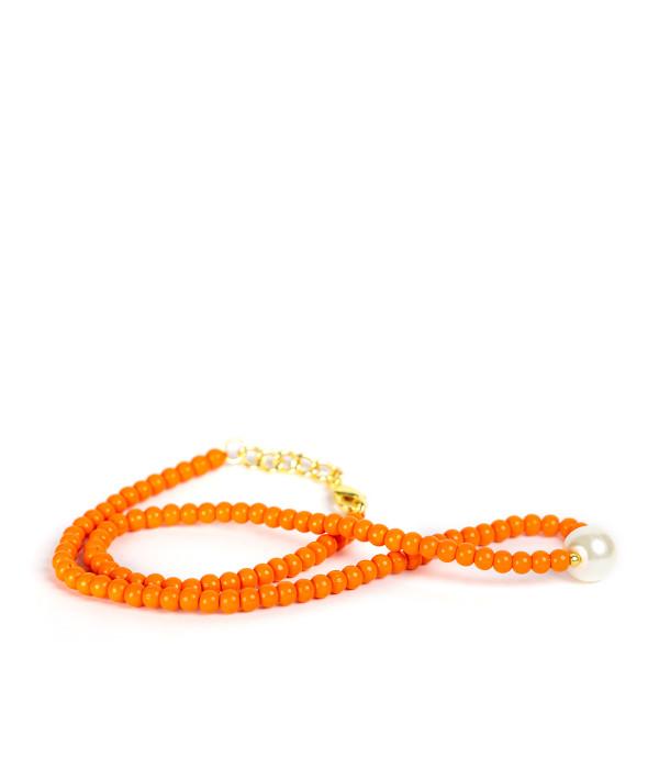 Paige Choker - Orange & Pearl