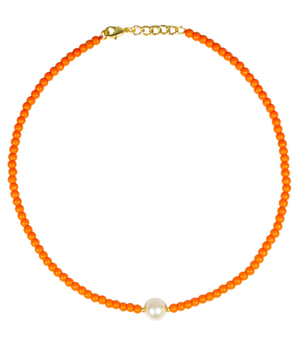 Paige Choker - Orange & Pearl