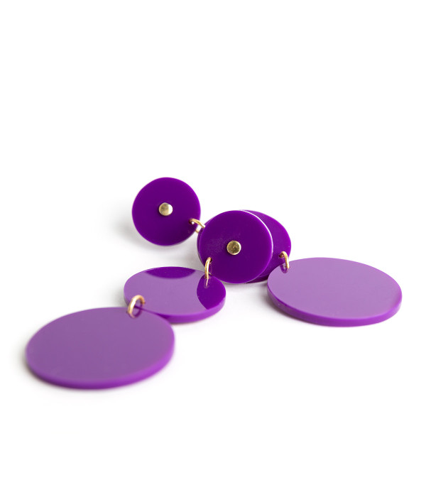 Greta Acrylic Earrings - Grape