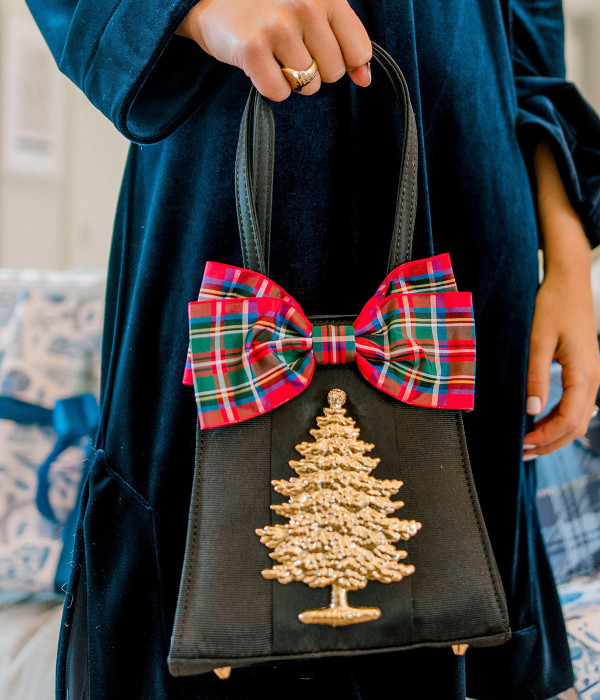 Jackie - Holiday Bow & Gold Adornment