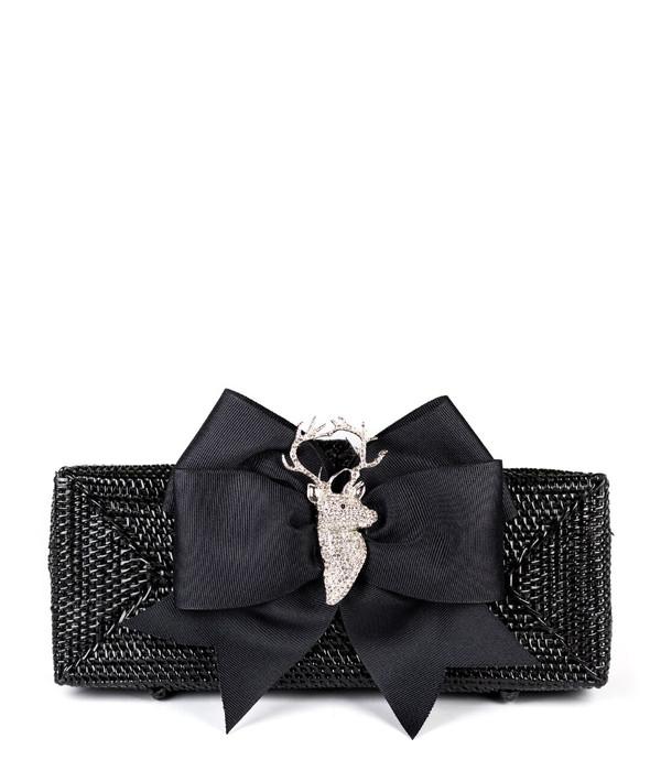 Colette - Black Grosgrain Bow & Rhinestone Adornment
