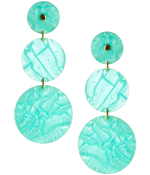 Greta Acrylic Earrings - Green Shell