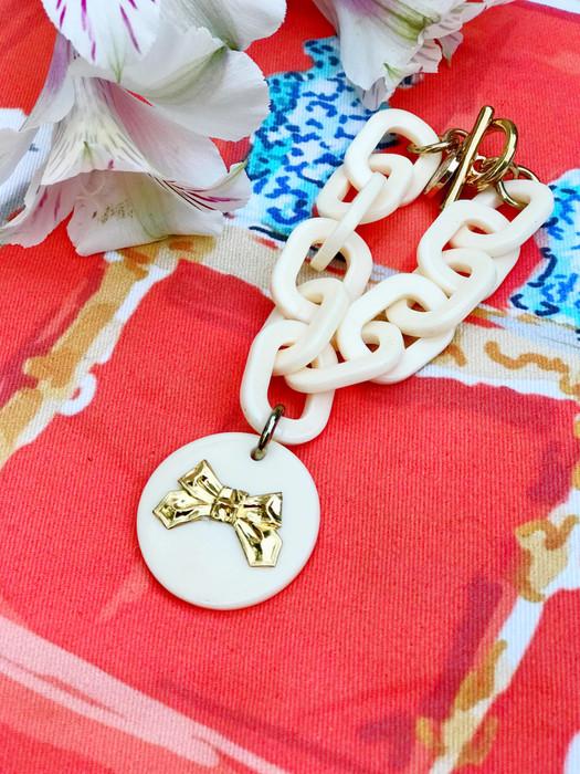 Acrylic Charm Bracelet - Cream