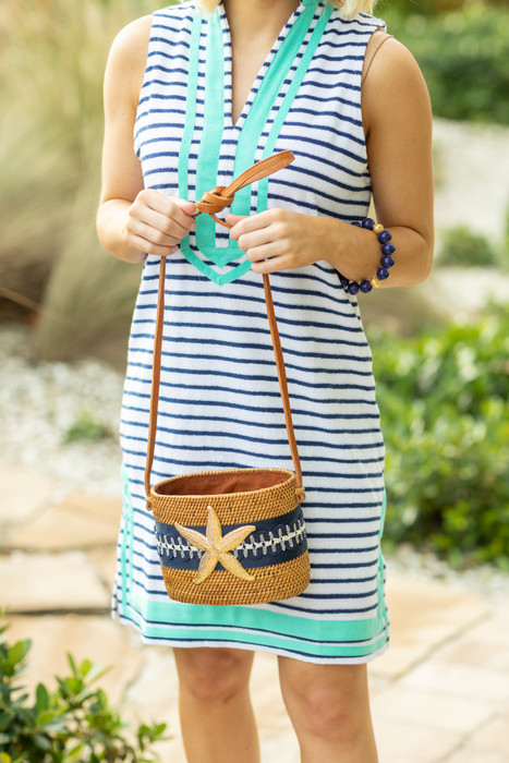 Charlotte Crossbody - Blue and White Wave