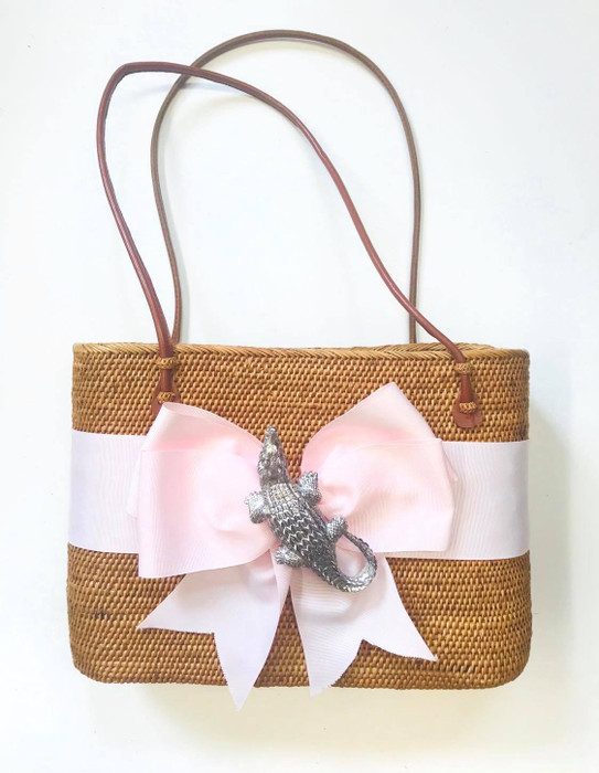 Large Charlotte - Fluffy Bow and Silver Gator - Limited Edition