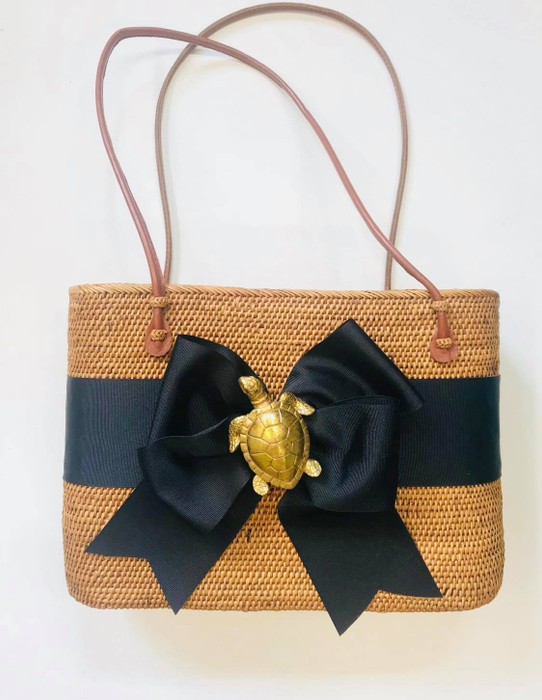 Large Charlotte - Fluffy Bow and Gold Turtle - Limited Edition