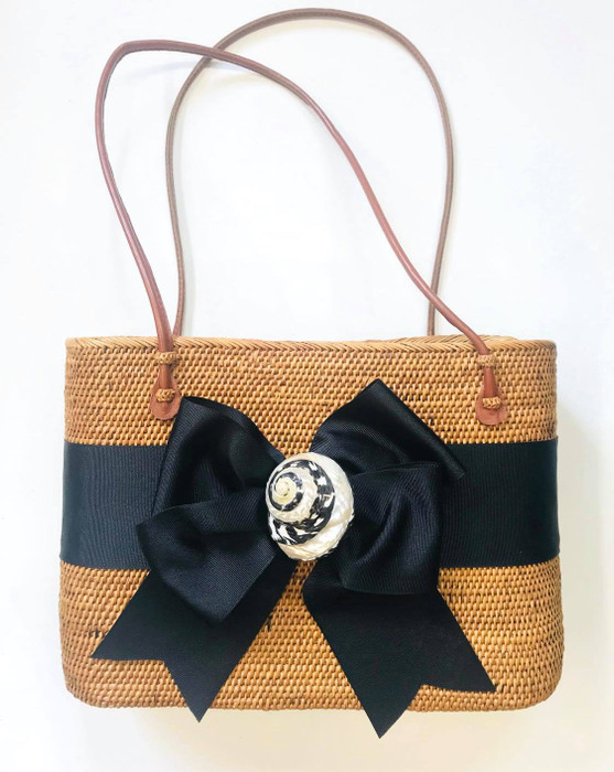 Large Charlotte - Fluffy Bow and Black & White Seashell - Limited Edition