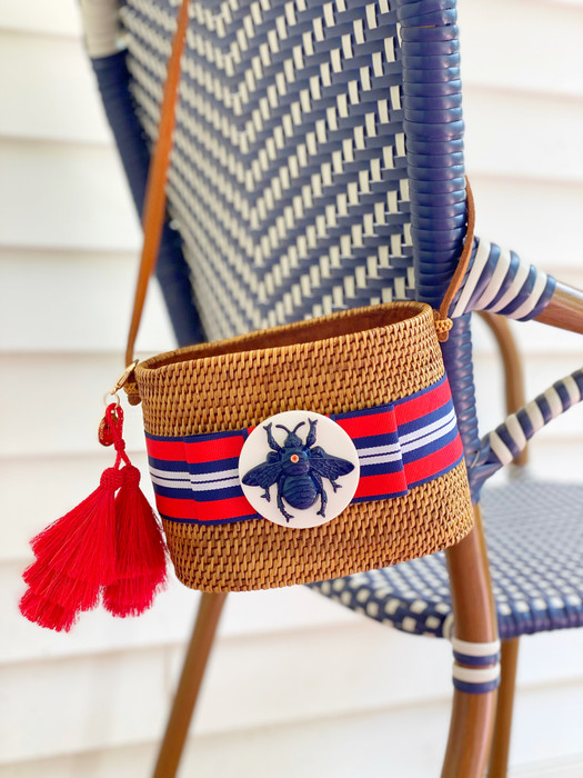 Small Charlotte - Red White and Blue Striped Flat Bow - White round with Navy Bee