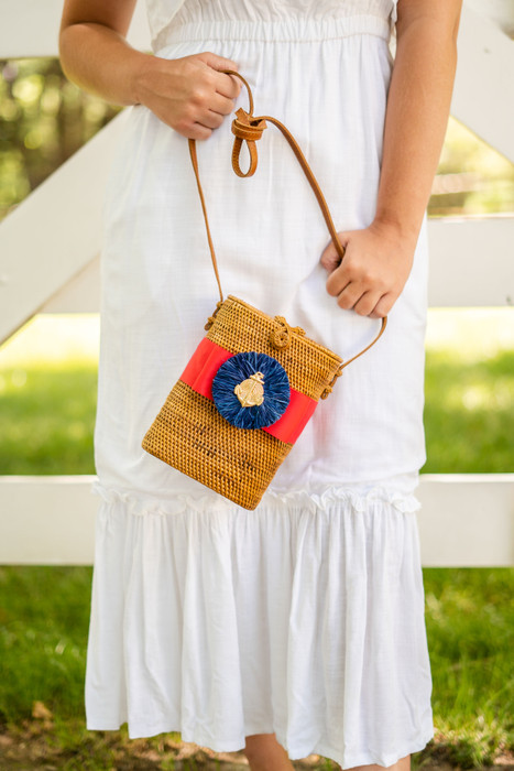 Julie - Red Flat Bow with Navy Raffia and Anchor