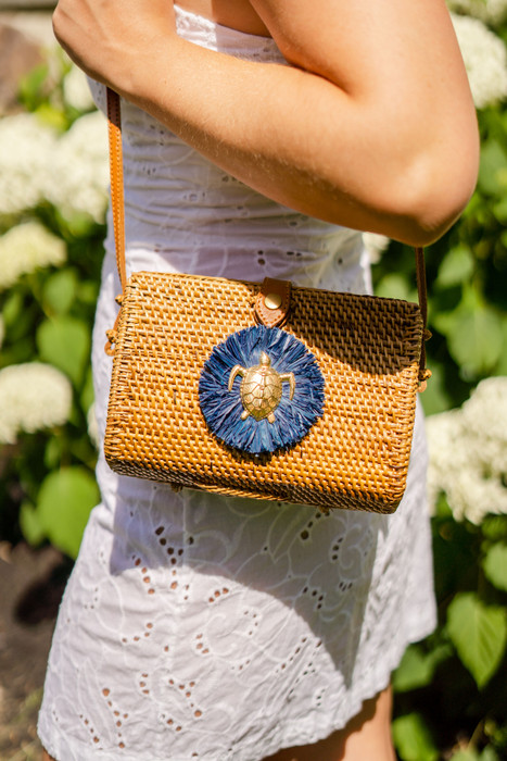 Audrey Crossbody - Navy Raffia & Turtle