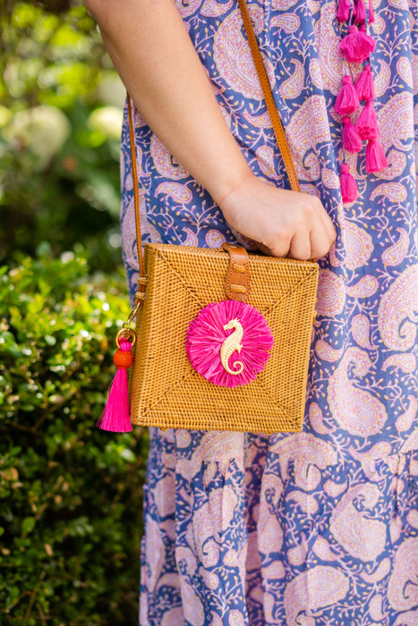 Addison Canteen- Pink Raffia Round - Seahorse - Pink and Orange Ball Tassel