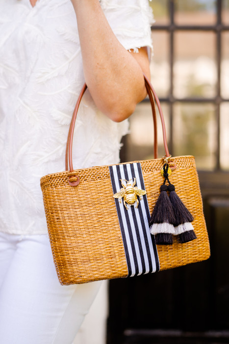 Olivia Medium - Vertical  Black and White Striped Band with Bee and  Black and White Tassel