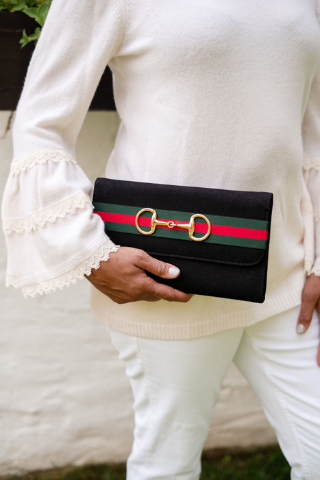 Black Avery Clutch - Green and Red Striped Band with Snaffle