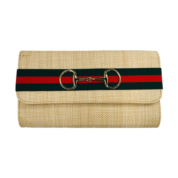 Avery Clutch - Green and Red Striped Band with Snaffle