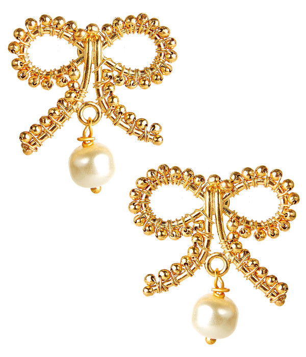 Little Bow Pearl Drop Earrings