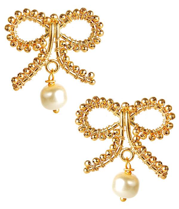 Little Bow Pearl Drop Earrings
