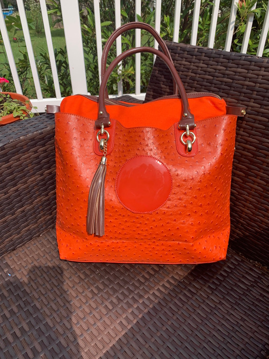 Ostrich Tote - Orange - Sample Bag