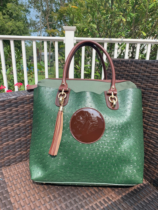 Ostrich Tote - Hunter Green - Sample Bag