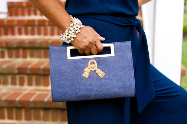 Chloe Suede Clutch - Applique Charm