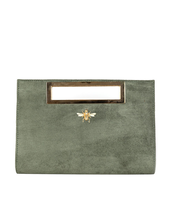 Chloe Suede Clutch - Olive - Bee
