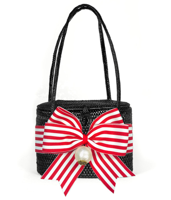 Savannah - Black with Red and White Striped Bow with Pearl Drop