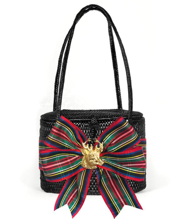 Savannah - Black with Christmas Plaid Bow and Stag Head