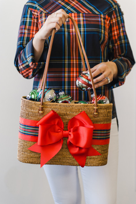 Charlotte Large - Red Christmas Plaid Fluffy Layer