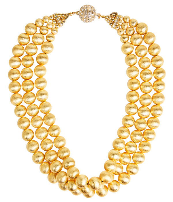 Diana Gold Triple Strand Beaded Necklace