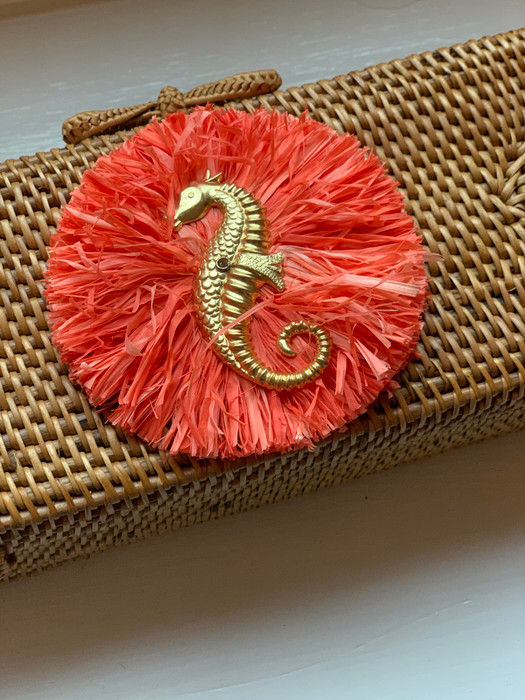Colette Natural - Coral Raffia with Seahorse - Sample Sale FINAL SALE